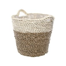 Maize Woven Planter with PVC Liner Beige&Natural (28Dx24cmH)
