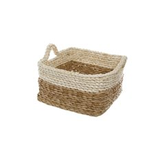 Maize Woven Storage Basket Square Beige&Natural(25x25x15cmH)