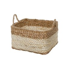 Maize Woven Planter with PVC Liner Natura&Beige(15x15x14cmH)