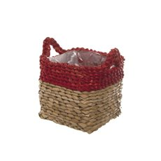 Maize Woven Planter with PVC Liner Red&Natural (15x15x14cmH)