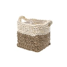 Maize Woven Planter with PVC Liner Beige&Natura(15x15x14cmH)