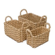 Storage Baskets & Boxes - Premium Storage Baskets Set of 3 Natural (35x25x18cmH)