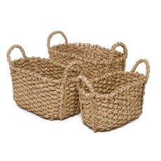 Premium Storage Baskets Set of 3 Oval Natural (40x29x20cmH)