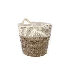 Flower Planter Pots - Maize Woven Planter with PVC Liner Beige&Natural (19Dx17cmH)