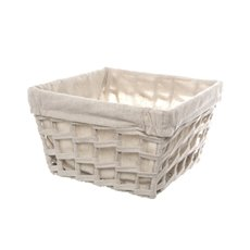 Fabric Woven Storage Basket with Liner Beige (25x25x15cmH)