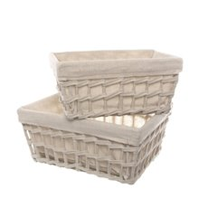 Fabric Woven Storage Basket Set of 2 Beige (35x25x16cmH)