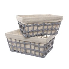 Fabric Woven Storage Basket Set of 2 Grey (35x25x16cmH)
