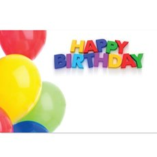 Cards Balloons Happy Birthday 50 Pack (10x6.5cmH)