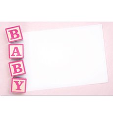 Cards Baby Blocks Pink 50 Pack (10x6.5cmH)