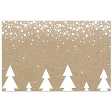 Cards Christmas Snowy Trees Brown Kraft PK50 (10x6.5cmH)