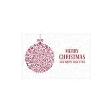 Cards Christmas Glamour Bauble Red 50pk (10x6.5cmH)