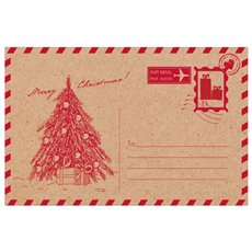 Brown Kraft Cards Christmas Post Card Red 50pk (10x6.5cmH)