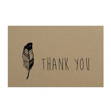 Florist Enclosure Cards - Cards Brown Kraft Thank You Feather (10x6.5cmH) Pack 50
