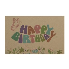 Florist Enclosure Cards - Cards Brown Kraft Birthday Butterfly (10x6.5cmH) Pack 50