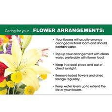 Cards Flower Care Flowers Arrangements 50 Pack (10x6.5cmH)