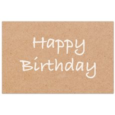 Cards Brown Kraft Happy Birthday 50 Pack  (10x6.5cmH)