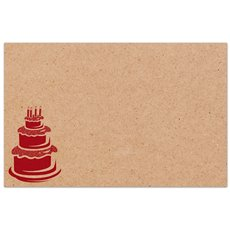 Cards Brown Kraft Birthday Cake PK50 (10x6.5cm)