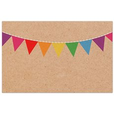 Florist Enclosure Cards - Cards Brown Kraft Multi Colour Party Bunting (10x6.5cm)Pk 50