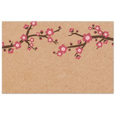 Florist Enclosure Cards - Cards Brown Kraft Cherry Blossom (10x6.5cm) Pack 50
