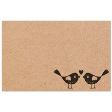 Florist Enclosure Cards - Cards Brown Kraft Love Birds (10x6.5cm) Pack 50
