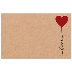 Cards Brown Kraft Love Balloon PK50 (10x6.5cm)