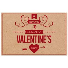 Cards Brown Kraft Happy Valentines Day Red PK50(10x6.5cm)