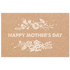 Cards Brown Kraft Happy Mothers Day White 50 Pack (10x6.5