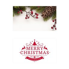 Folded Card with Envelopes Christmas Rustic 24Pack (10x6.5cm