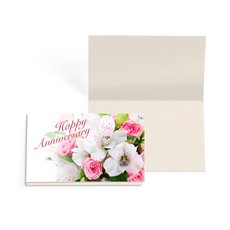Folded Gift Cards - Folded Card w Envelopes Anniversary Flowers(10x6.5cm)Pack 24