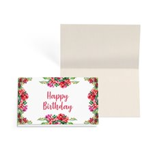 Folded Gift Cards - Folded Card w Envelopes Birthday Flowers (10x6.5cm)Pk 24