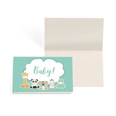 Folded Gift Cards - Folded Card with Envelopes Baby Animals Sage (10x6.5cm)Pk 24