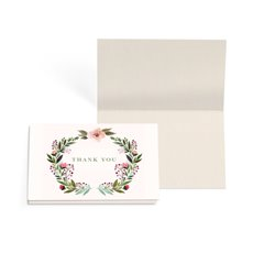 Folded Gift Cards - Folded Card with Envelopes Thank You Wreath (10x6.5cm)Pk 24