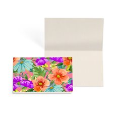 Folded Gift Cards - Folded Card with Envelopes Bright Flowers (10x6.5cm) Pack 24