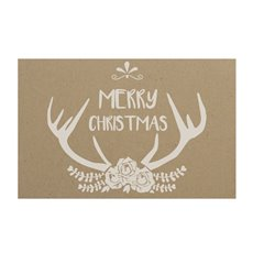 Small Florist Enclosure Cards - Cards Brown Kraft Christmas Antler 50Pk (10x6.5cmH)