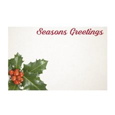 Cards Christmas Holly (10x6.5cmH) 50Pk