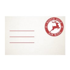 Cards White Christmas Air Mail (10x6.5cmH) 50Pk