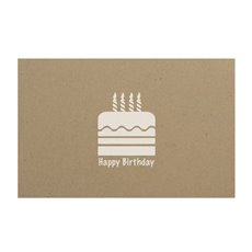 Florist Enclosure Cards - Cards Brown Kraft Happy Birthday Cake White (10x6.5cmH)Pk 50