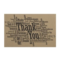 Cards Brown Kraft Thank You Languages (10x6.5cmH) 50Pk