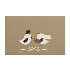 Florist Enclosure Cards - Cards Brown Kraft Wedding Doves (10x6.5cmH) Pack 50