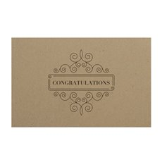 Florist Enclosure Cards - Cards Brown Kraft Congratulations Frame (10x6.5cmH) Pack 50