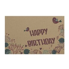 Cards Brown Kraft Happy Birthday Pink Birds (10x6.5cmH) 50Pk