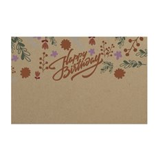 Cards Brown Kraft Happy Birthday Yellow (10x6.5cmH) 50Pk