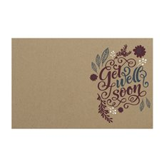 Florist Enclosure Cards - Cards Brown Kraft Get Well Leaf Swirl (10x6.5cmH) Pack 50