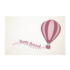 Florist Enclosure Cards - Cards White Birthday Hot Air Balloon Pink(10x6.5cmH) Pack 50