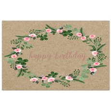 Florist Enclosure Cards - Cards Brown Kraft Birthday Wreath (10x6.5cmH) Pack 50