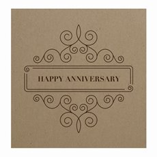 Florist Enclosure Cards - Cards Square Brown Kraft Anniversary Framed (10x10cm)Pack 50