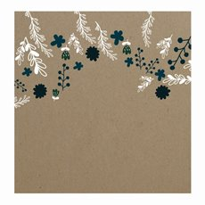 Cards Square Brown Kraft Floral Scatter Teal (10x10cm) 50Pk