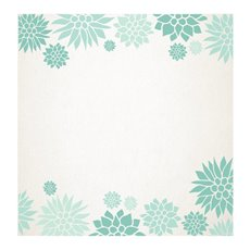 Cards Square Floral Border Teal (10x10cm) 50Pk