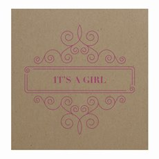 Cards Square Brown Kraft Its Girl Border Pnk (10x10cm) 50Pk