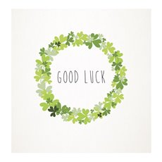 Florist Enclosure Cards - Cards Square Good Luck Wreath (10x10cm) Pack 50